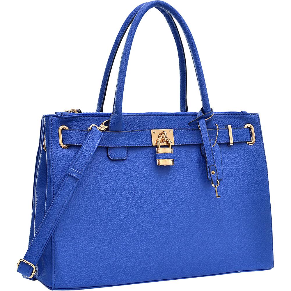 Dasein Padlock Double Zipper Satchel Blue - Dasein Manmade Handbags - Handbags, Manmade Handbags