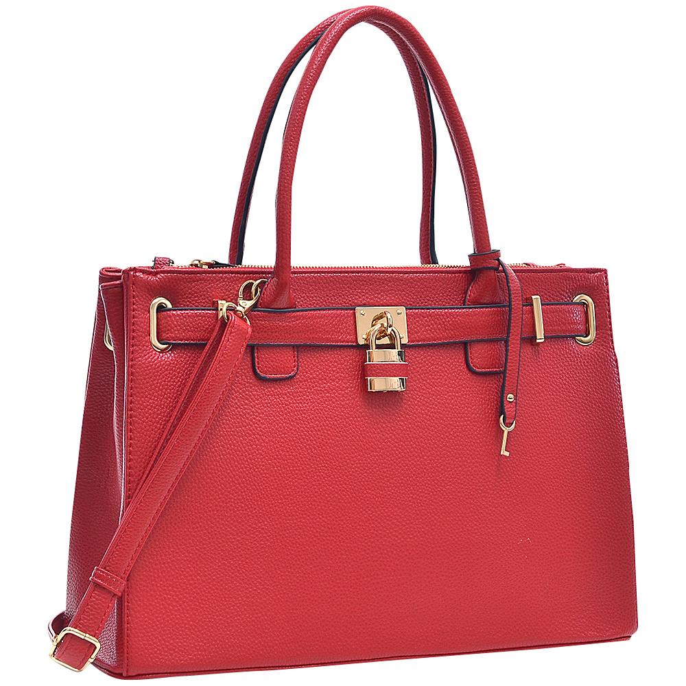 Dasein Padlock Double Zipper Satchel Red - Dasein Manmade Handbags - Handbags, Manmade Handbags