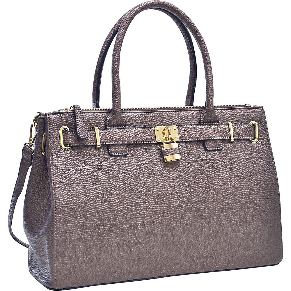 Dasein Padlock Double Zipper Satchel Bronze - Dasein Manmade Handbags - Handbags, Manmade Handbags