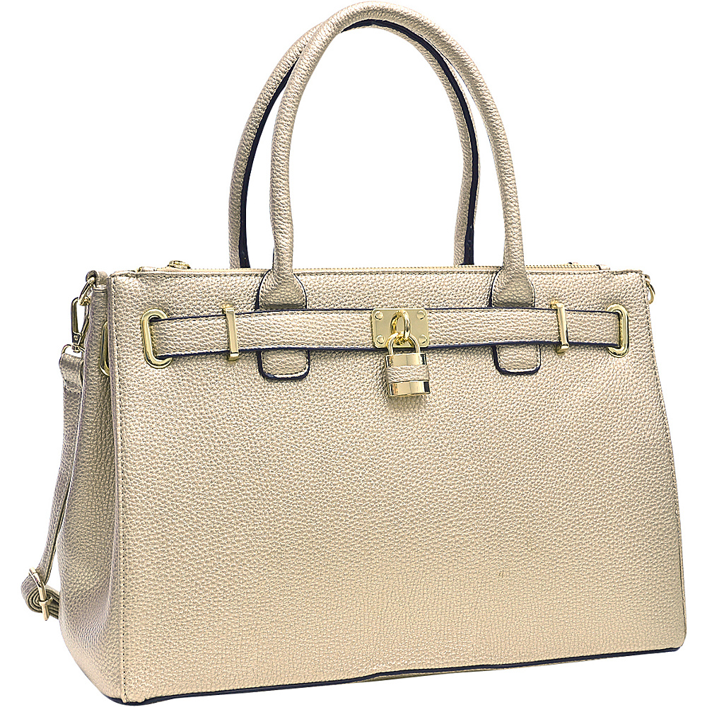 Dasein Padlock Double Zipper Satchel Gold - Dasein Manmade Handbags - Handbags, Manmade Handbags