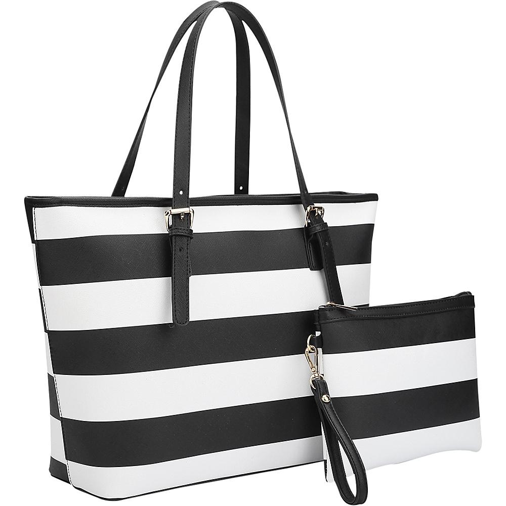 Dasein Multicolor Striped Leather Tote with Coin Pouch Black/White - Dasein Manmade Handbags - Handbags, Manmade Handbags