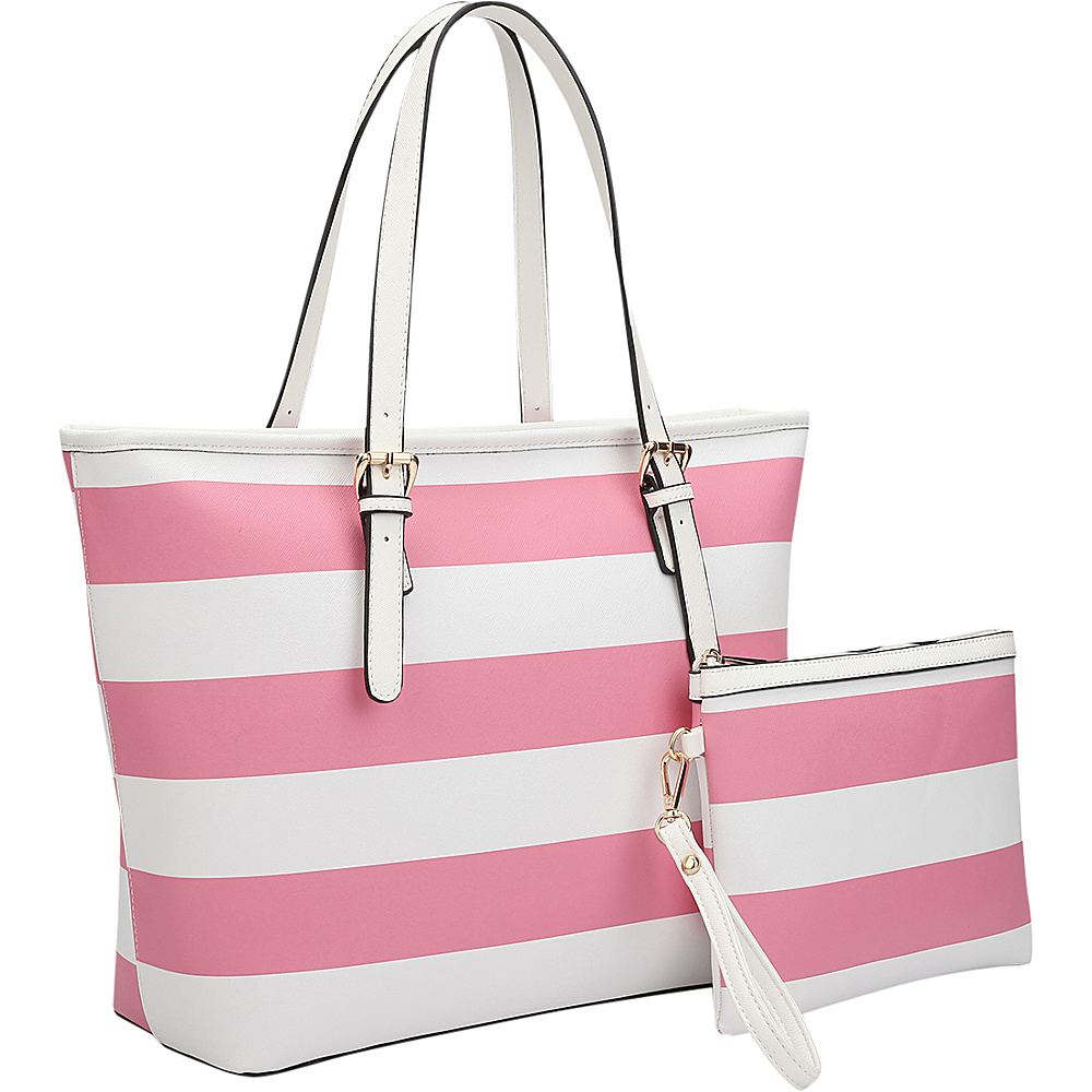 Dasein Multicolor Striped Leather Tote with Coin Pouch Pink/White - Dasein Manmade Handbags - Handbags, Manmade Handbags