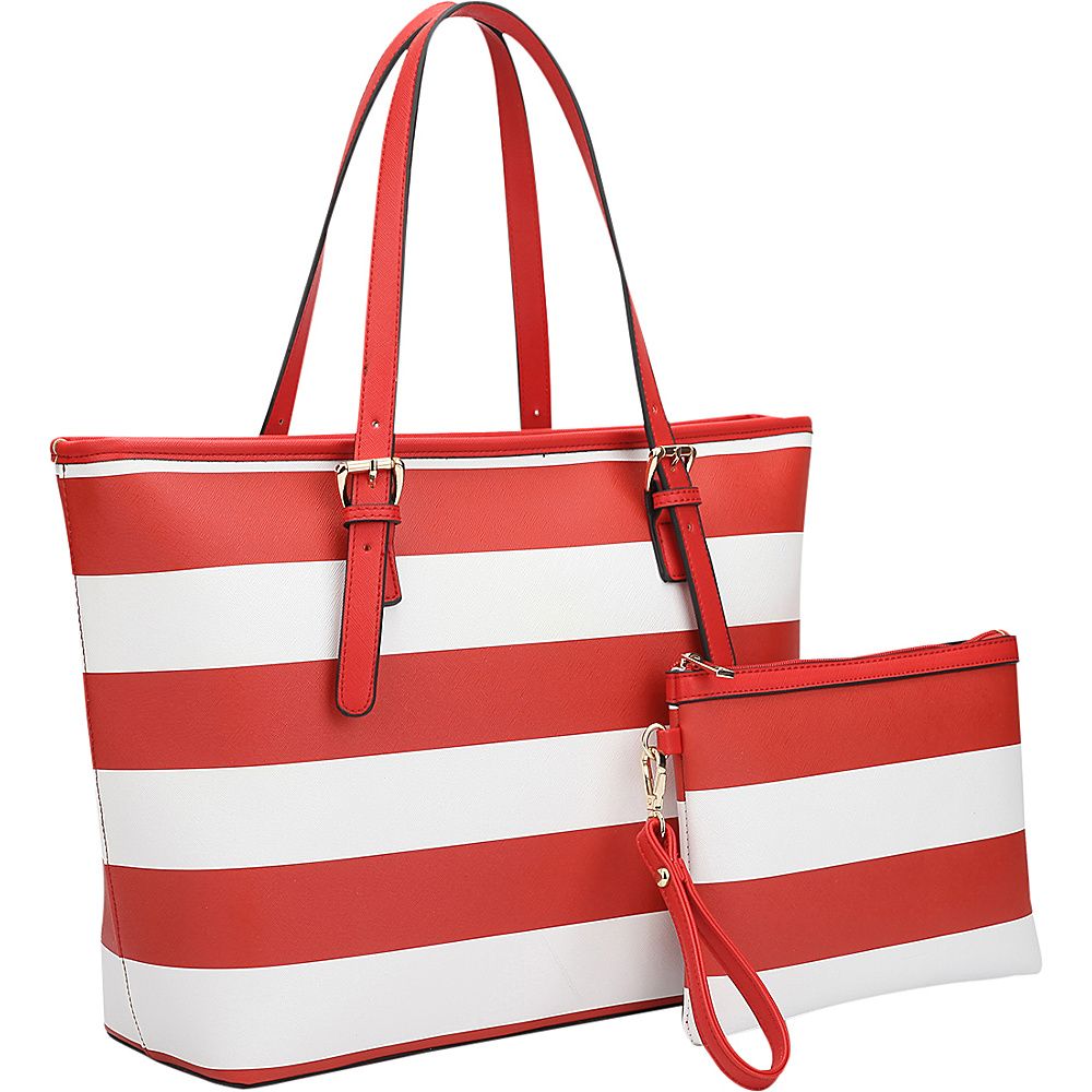 Dasein Multicolor Striped Leather Tote with Coin Pouch Red/White - Dasein Manmade Handbags - Handbags, Manmade Handbags