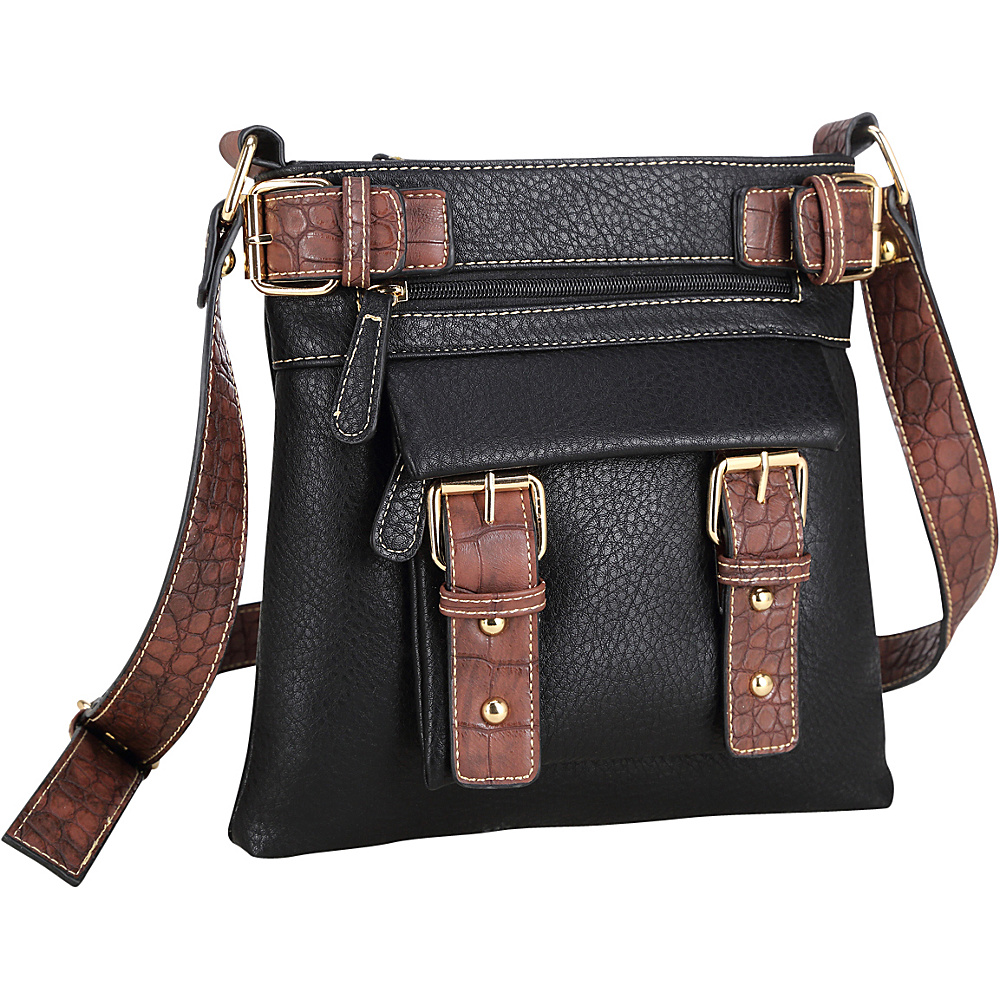 Dasein Soft Faux Leather Crossbody Black - Dasein Manmade Handbags - Handbags, Manmade Handbags