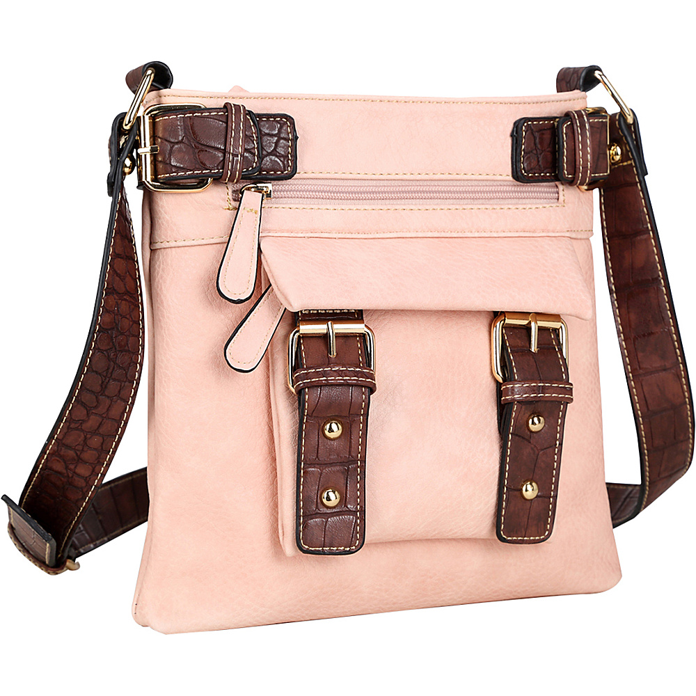 Dasein Soft Faux Leather Crossbody Pink - Dasein Manmade Handbags - Handbags, Manmade Handbags