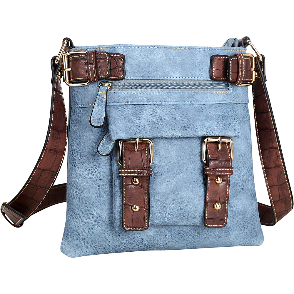 Dasein Soft Faux Leather Crossbody Blue - Dasein Manmade Handbags - Handbags, Manmade Handbags
