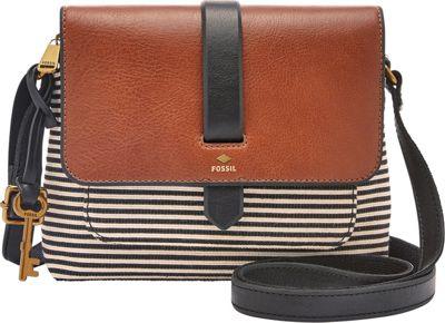 Fossil Kinley Small Crossbody Black Stripe - Fossil Fabric Handbags