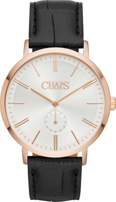 Chaps Dunham Rose Gold-Tone and Black Leather Three-Hand Watch Black - Chaps Watches