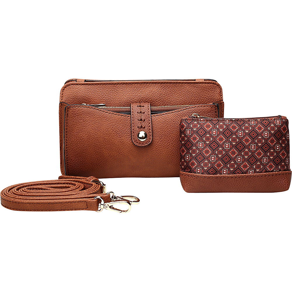MKF Collection by Mia K. Farrow Frangelina 3 In 1 Crossbody/Pouch/Wallet Set Brown - MKF Collection by Mia K. Farrow Manmade Handbags - Handbags, Manmade Handbags