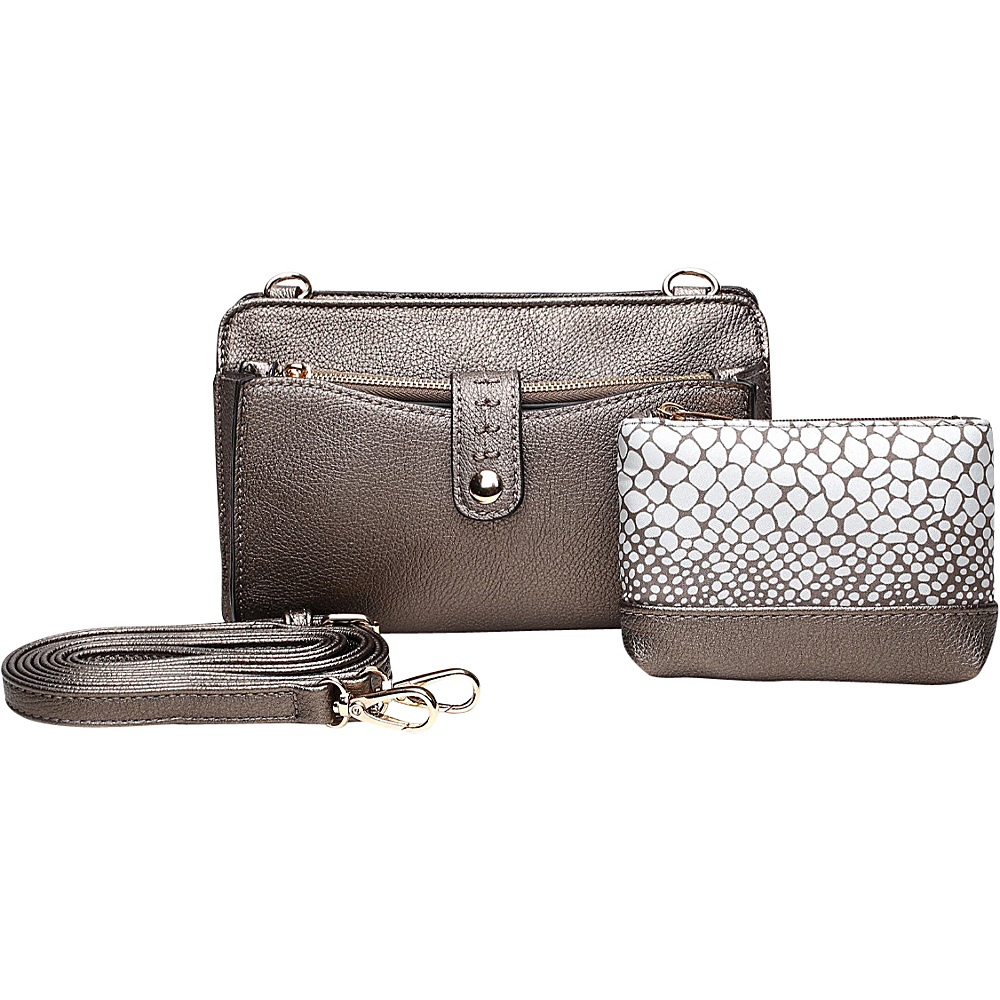 MKF Collection by Mia K. Farrow Frangelina 3 In 1 Crossbody/Pouch/Wallet Set Pewter - MKF Collection by Mia K. Farrow Manmade Handbags - Handbags, Manmade Handbags