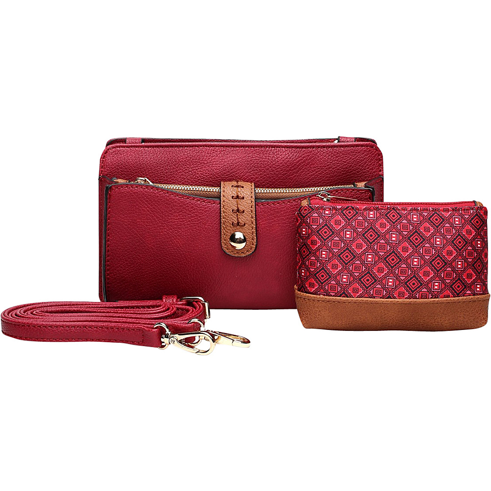 MKF Collection by Mia K. Farrow Frangelina 3 In 1 Crossbody/Pouch/Wallet Set Red - MKF Collection by Mia K. Farrow Manmade Handbags - Handbags, Manmade Handbags
