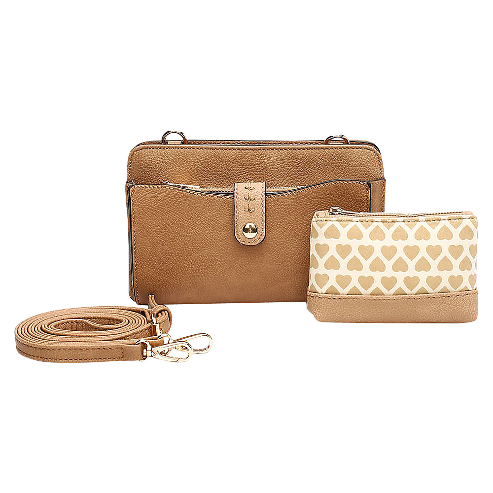 MKF Collection by Mia K. Farrow Frangelina 3 In 1 Crossbody/Pouch/Wallet Set Camel - MKF Collection by Mia K. Farrow Manmade Handbags - Handbags, Manmade Handbags