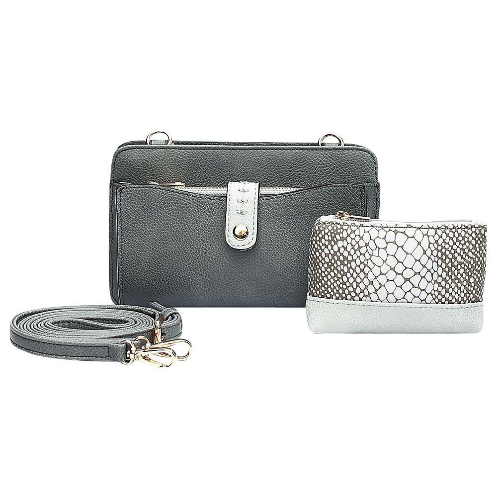 MKF Collection by Mia K. Farrow Frangelina 3 In 1 Crossbody/Pouch/Wallet Set Dark Grey - MKF Collection by Mia K. Farrow Manmade Handbags - Handbags, Manmade Handbags