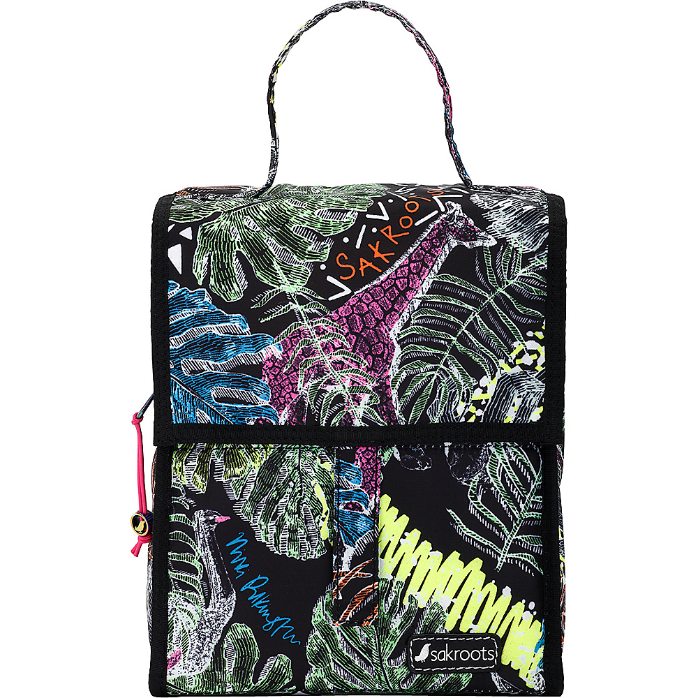 Sakroots Artist Circle Packable Lunch Bag Black Wild Life - Sakroots Travel Coolers - Travel Accessories, Travel Coolers