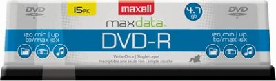 Maxell DVD-R 4.7GB Write-Once, 16x Recordable Disc (Spindle Pack of 15) Clear - Maxell Electronic Accessories