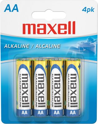 Maxell Alkaline Battery AA Cell 4-Pack Gold - Maxell Portable Batteries & Chargers