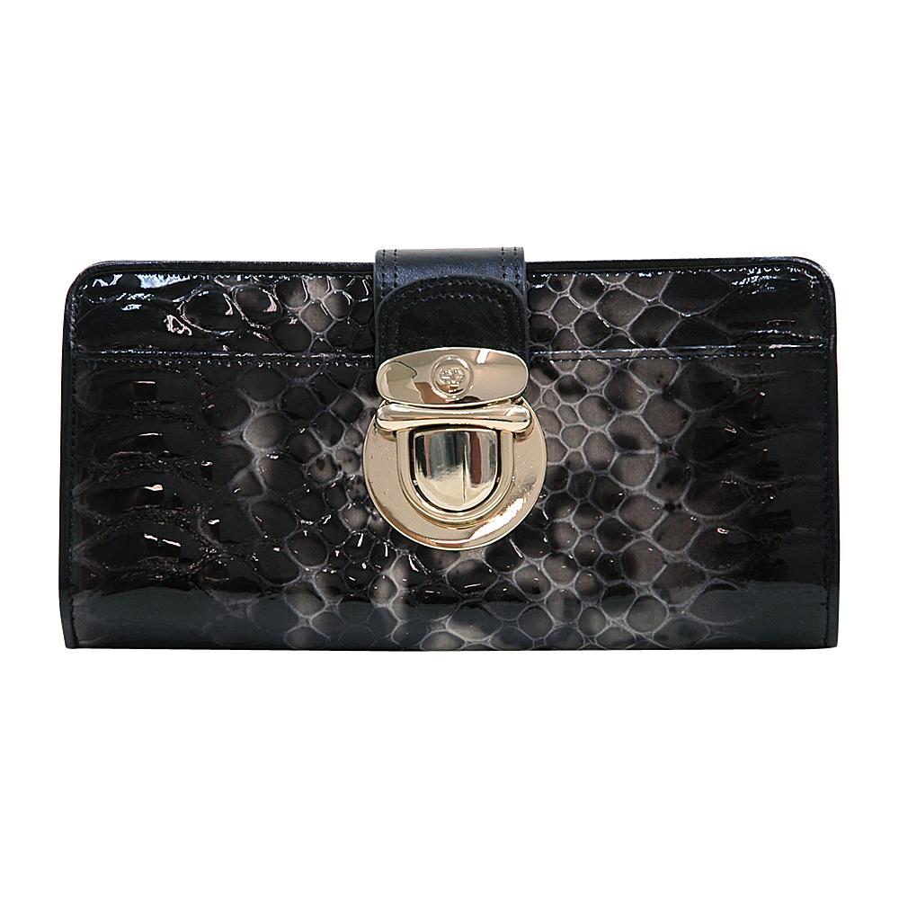 Dasein Womens Gold Buckled Snakeskin Bifold Wallet Black - Dasein Womens Wallets - Women's SLG, Women's Wallets
