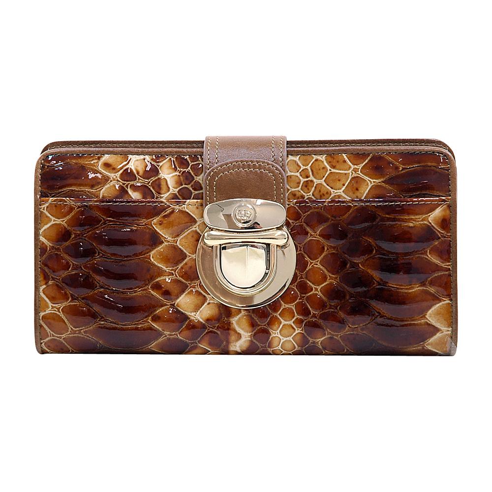 Dasein Womens Gold Buckled Snakeskin Bifold Wallet Brown/Brown - Dasein Womens Wallets - Women's SLG, Women's Wallets