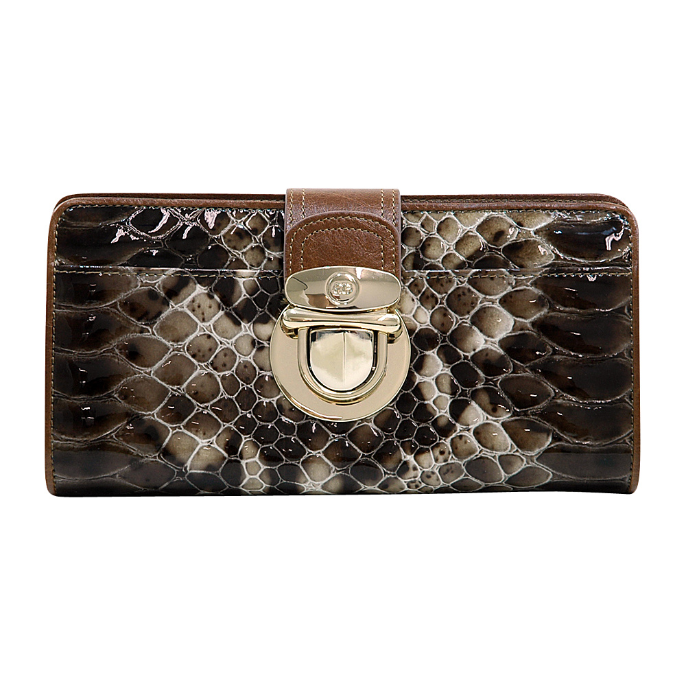 Dasein Womens Gold Buckled Snakeskin Bifold Wallet Deep Brown/Brown - Dasein Womens Wallets - Women's SLG, Women's Wallets
