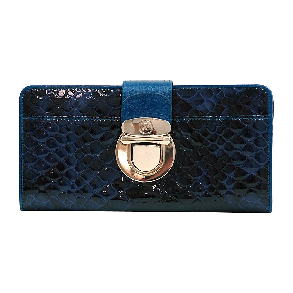 Dasein Womens Gold Buckled Snakeskin Bifold Wallet Blue/Blue - Dasein Womens Wallets - Women's SLG, Women's Wallets