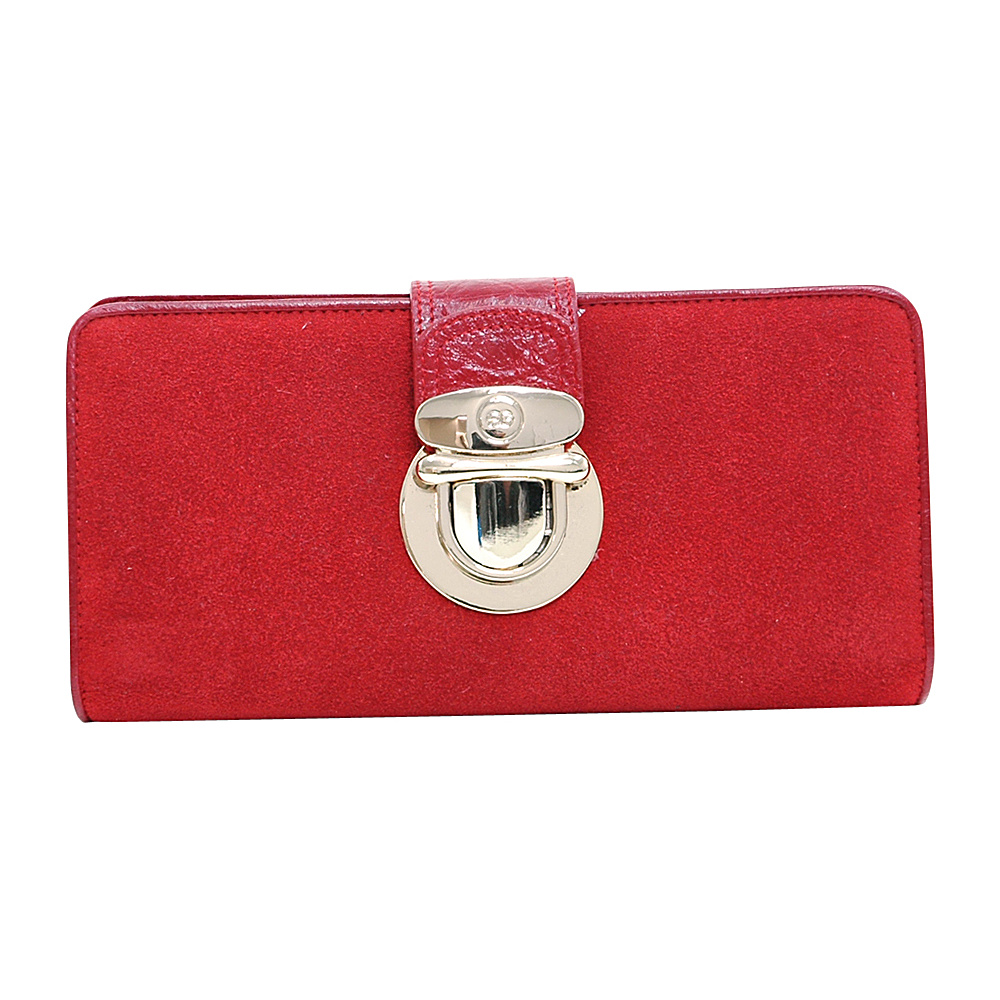 Dasein Womens Bifold Wallet with Light Gold Buckle Red - Dasein Womens Wallets - Women's SLG, Women's Wallets