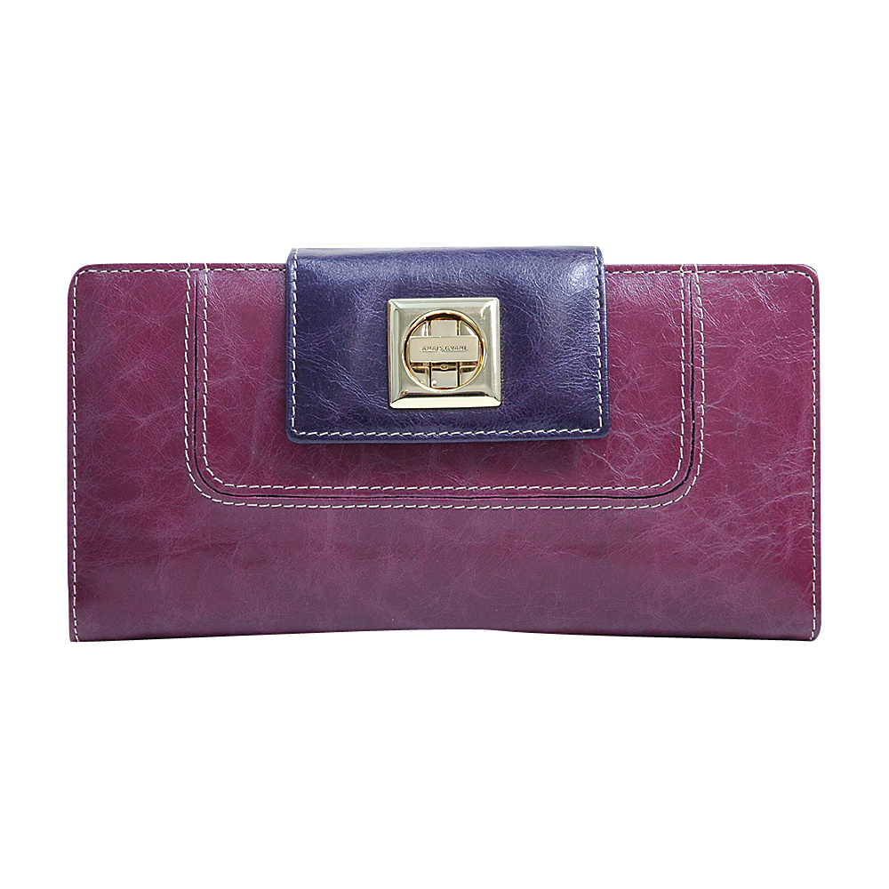 Dasein Womens Two-Toned Checkbook Wallet with Twist Lock Closure Purple Red/Purple - Dasein Womens Wallets - Women's SLG, Women's Wallets
