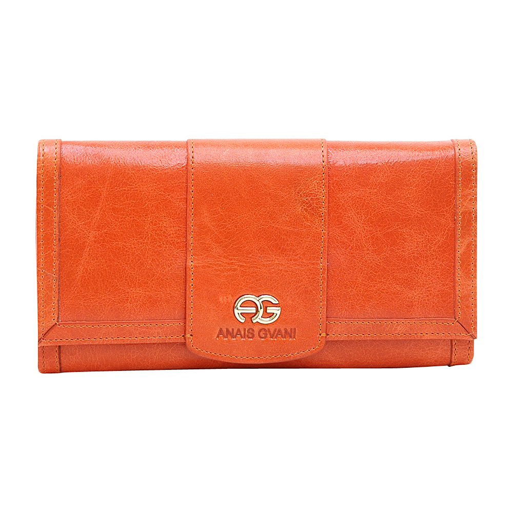 Dasein Womens Classic Trifold Wallet with Gold Logo Accent Orange - Dasein Womens Wallets - Women's SLG, Women's Wallets