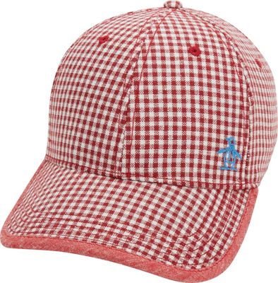 Original Penguin Fitted Gingham Baseball Cap One Size - Samba Red - Original Penguin Hats 10572247