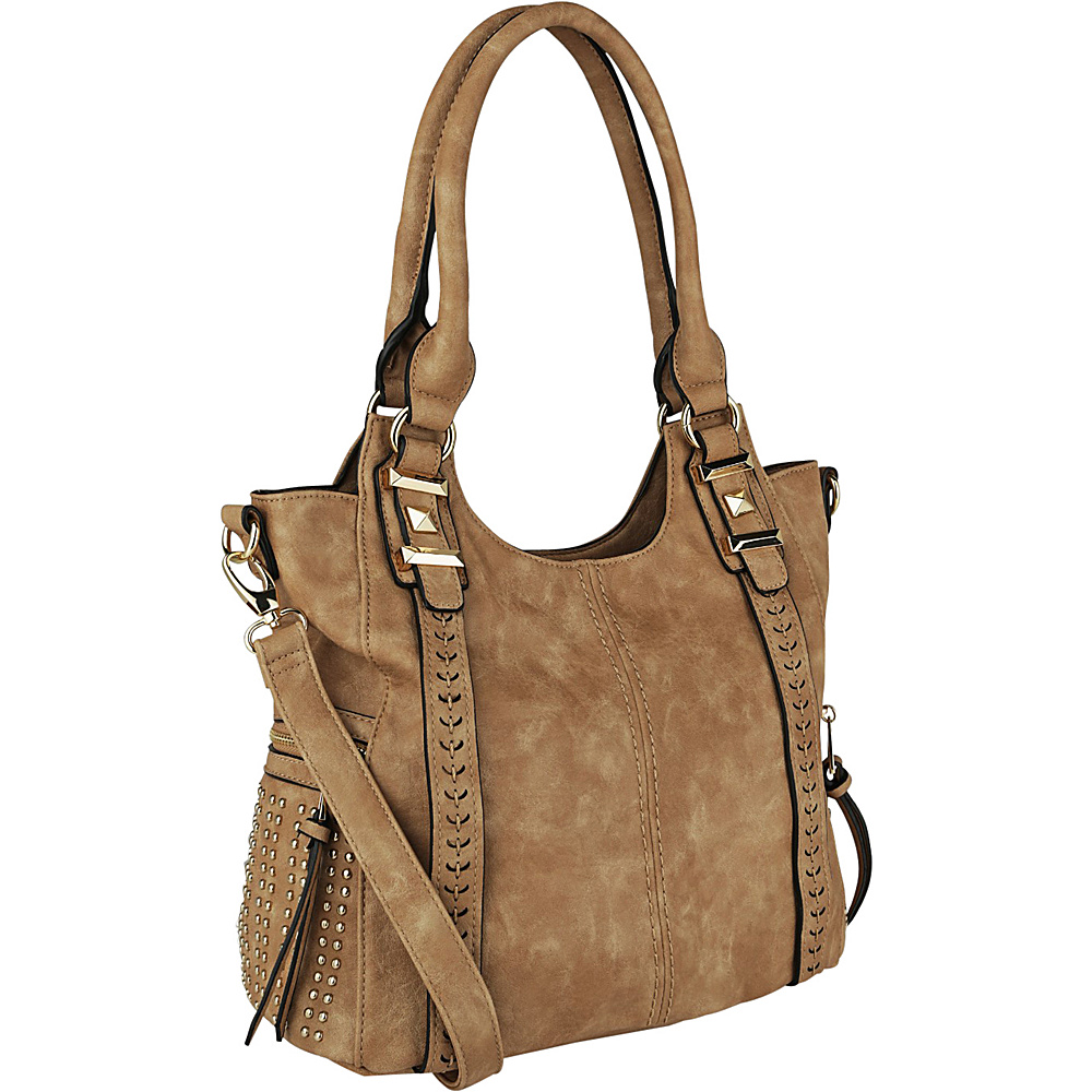 MKF Collection Claire Beaded Tote Apricot - MKF Collection Manmade Handbags - Handbags, Manmade Handbags