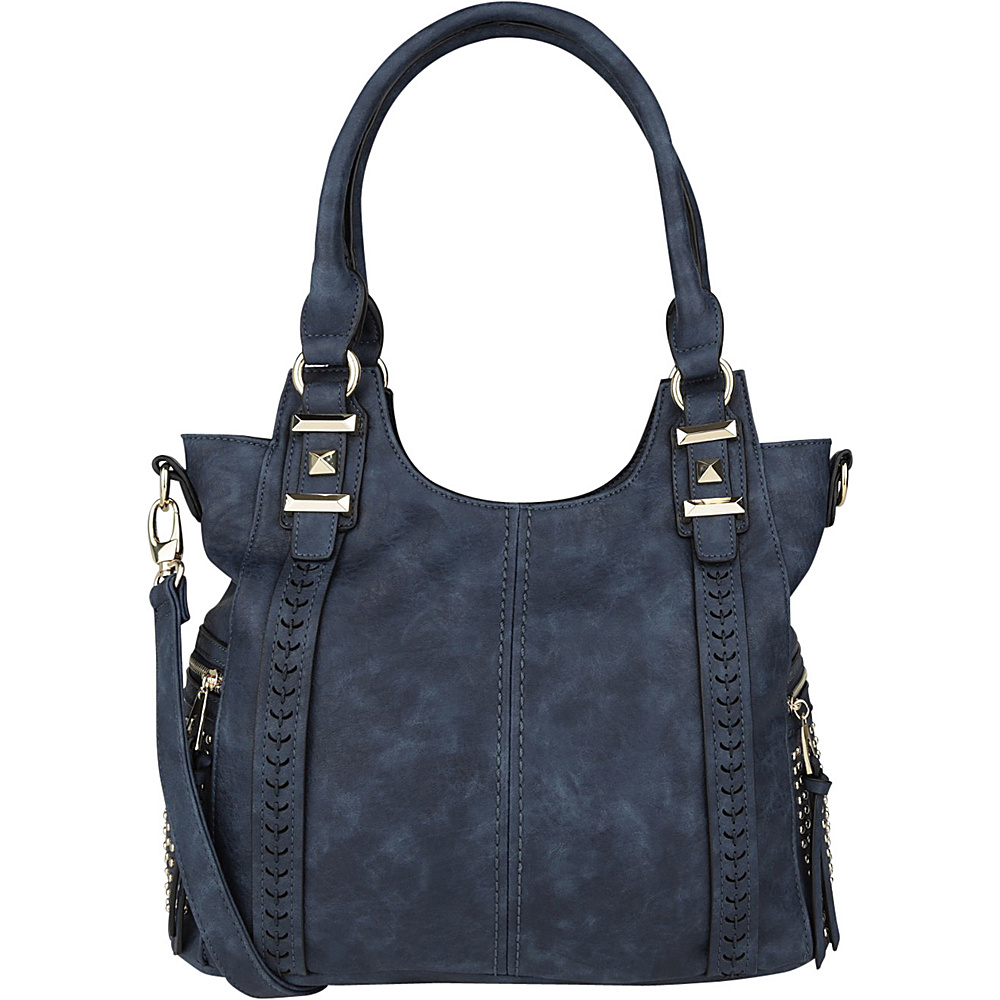 MKF Collection Claire Beaded Tote Navy - MKF Collection Manmade Handbags - Handbags, Manmade Handbags