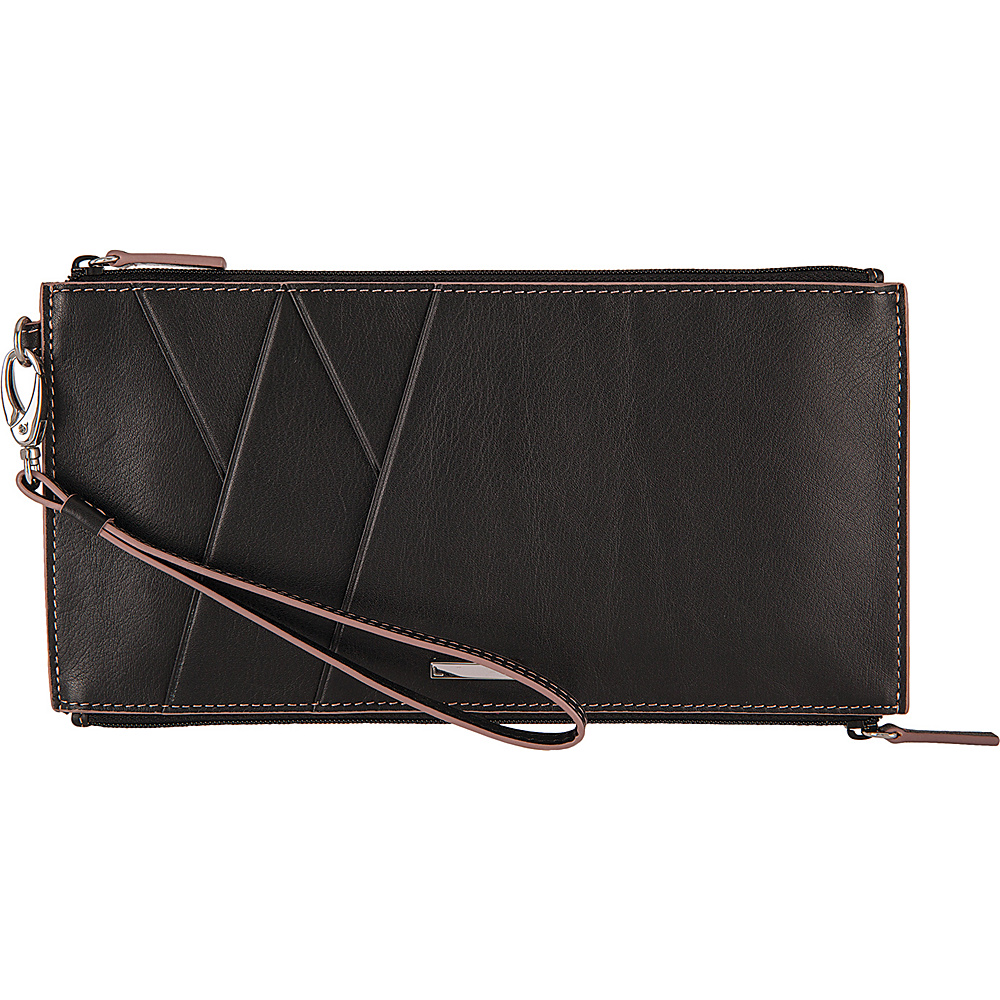 Lodis Mill Valley Under Lock & Key Kai Double Zip Pouch with Wristlet Black - Lodis Womens Wallets - Women's SLG, Women's Wallets