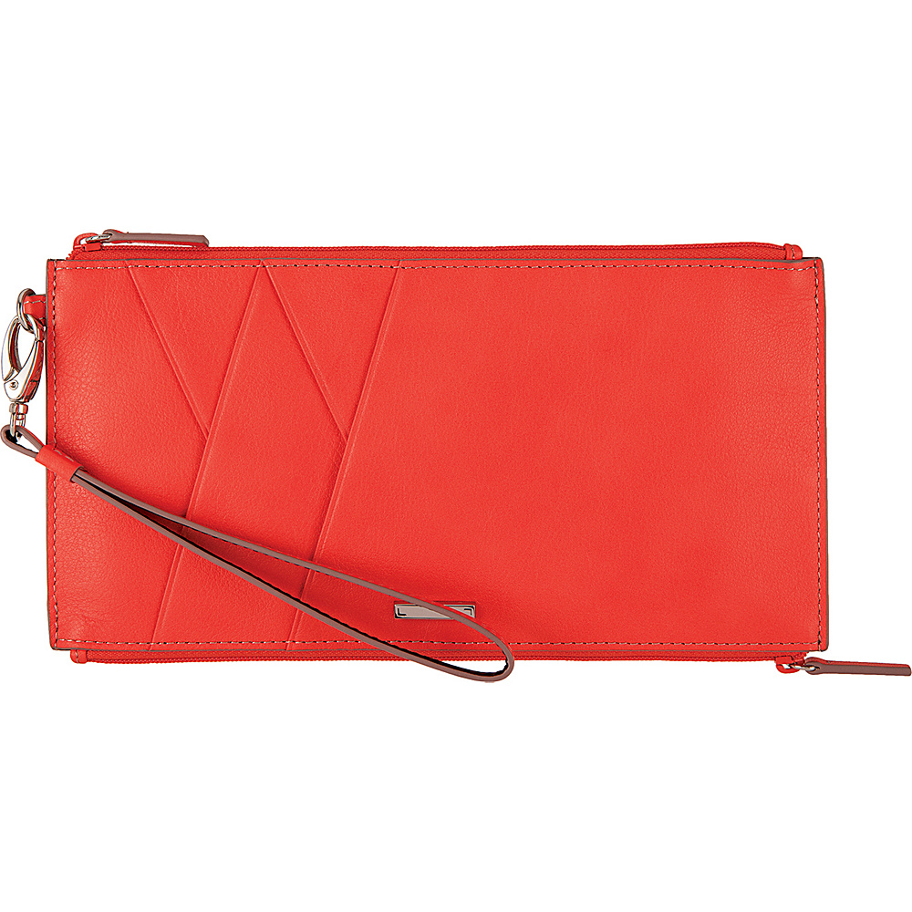 Lodis Mill Valley Under Lock & Key Kai Double Zip Pouch with Wristlet Coral - Lodis Womens Wallets - Women's SLG, Women's Wallets