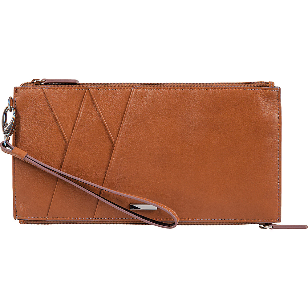 Lodis Mill Valley Under Lock & Key Kai Double Zip Pouch with Wristlet Toffee - Lodis Womens Wallets - Women's SLG, Women's Wallets