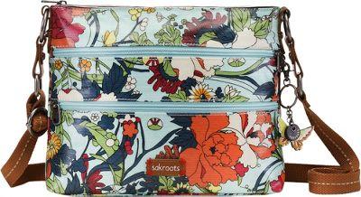 Sakroots Artist Circle Basic Crossbody- Seasonal Colors Seafoam Flower Power - Sakroots Fabric Handbags