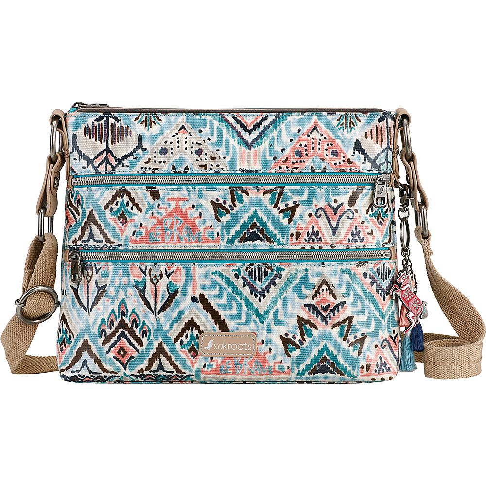 Sakroots Artist Circle Basic Crossbody- Seasonal Colors Turq Brave Beauti - Sakroots Fabric Handbags - Handbags, Fabric Handbags