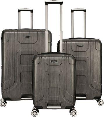 Gabbiano Provence 3 Piece Expandable Hardside Spinner Luggage Set Black - Gabbiano Luggage Sets