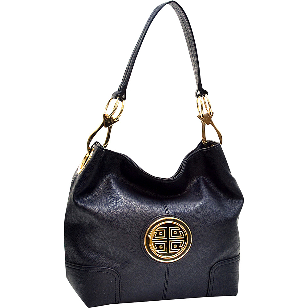 Dasein Soft Emblem Tote with Removable Strap Black - Dasein Manmade Handbags - Handbags, Manmade Handbags
