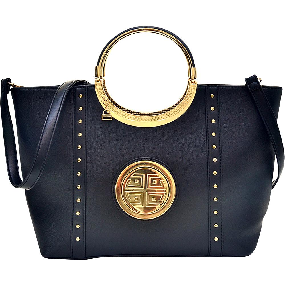 Dasein Studded Zip Accent Emblem Satchel with Shoulder Strap Black - Dasein Manmade Handbags - Handbags, Manmade Handbags