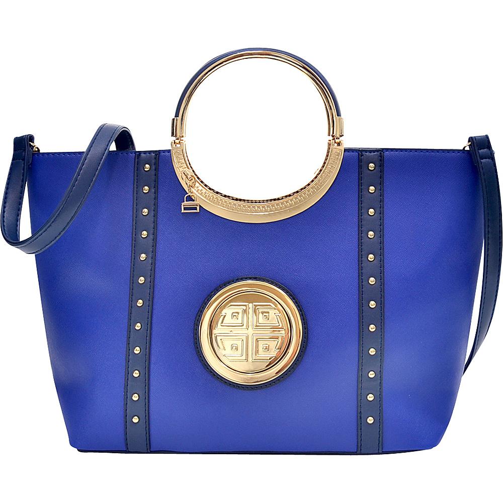 Dasein Studded Zip Accent Emblem Satchel with Shoulder Strap Royal Blue - Dasein Manmade Handbags - Handbags, Manmade Handbags