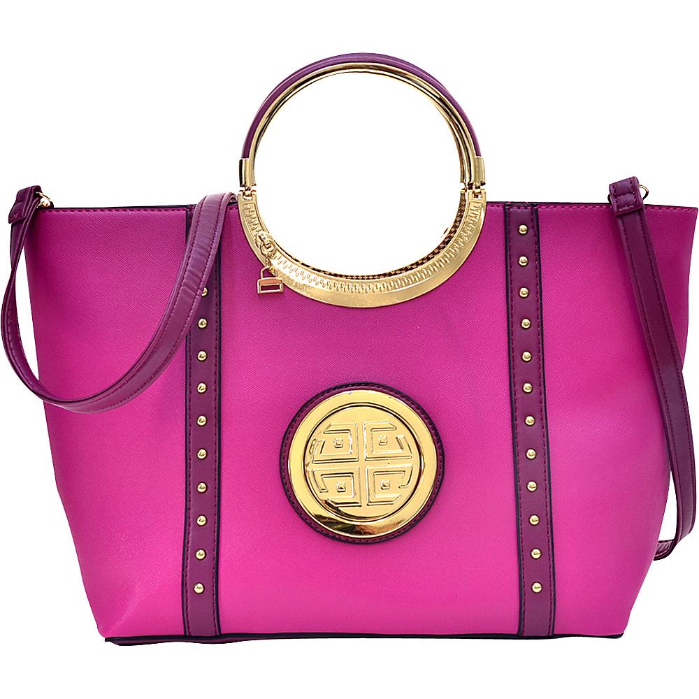 Dasein Studded Zip Accent Emblem Satchel with Shoulder Strap Purple - Dasein Manmade Handbags - Handbags, Manmade Handbags