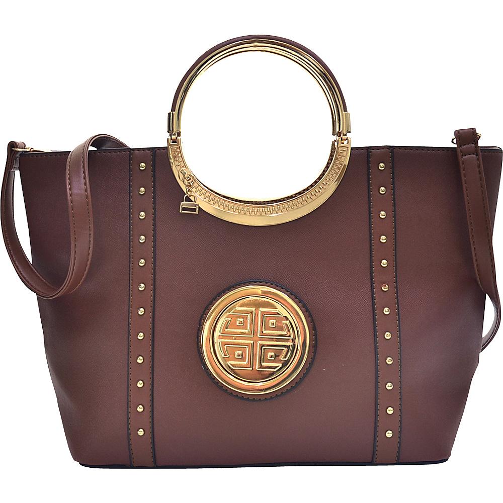 Dasein Studded Zip Accent Emblem Satchel with Shoulder Strap Brown - Dasein Manmade Handbags - Handbags, Manmade Handbags