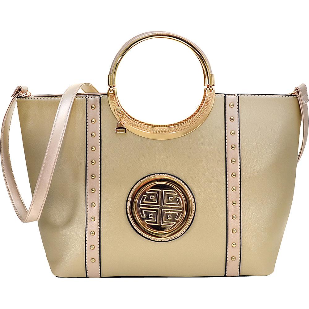 Dasein Studded Zip Accent Emblem Satchel with Shoulder Strap Gold - Dasein Manmade Handbags - Handbags, Manmade Handbags