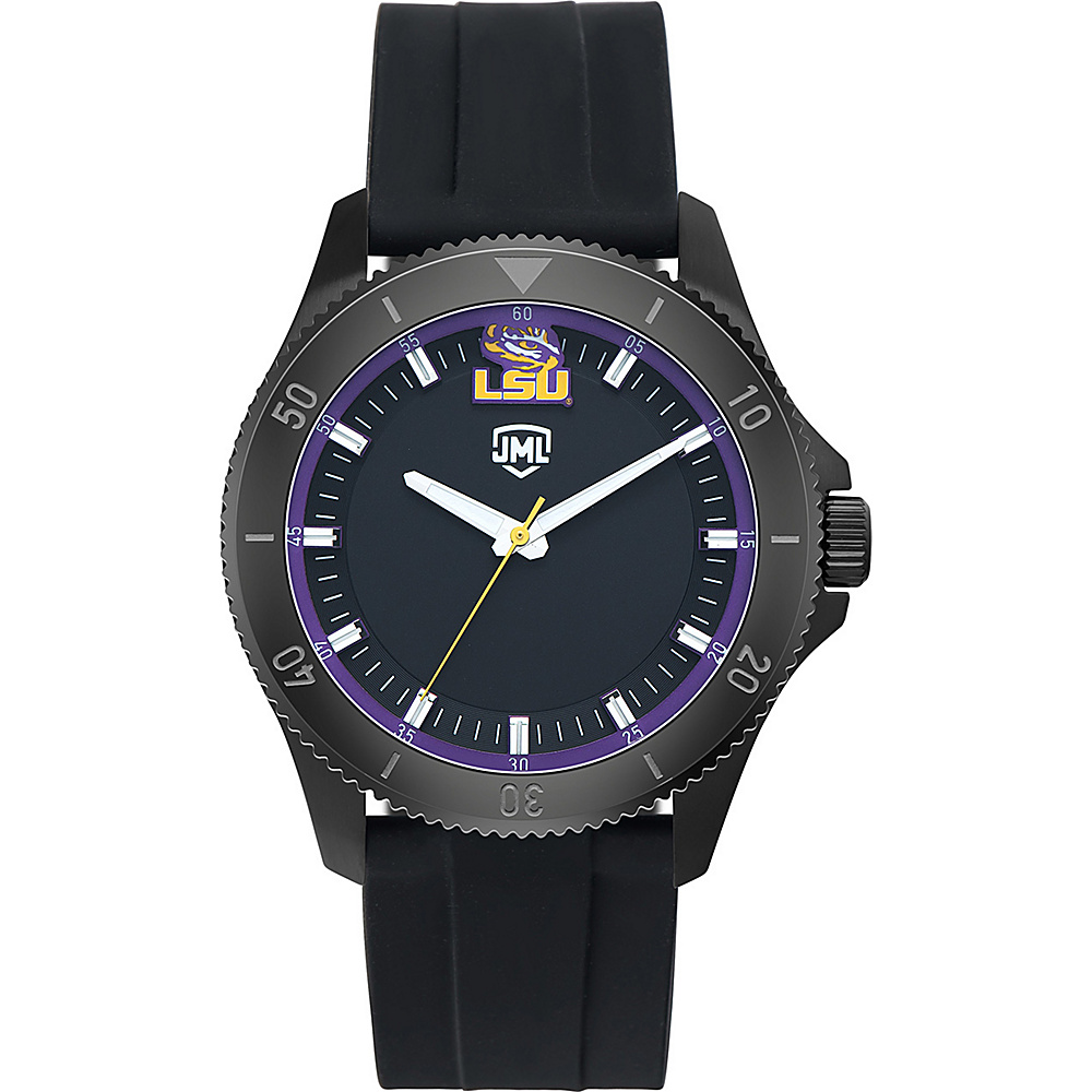 Jack Mason League Mens NCAA Blackout Silicone Watch LSU - Jack Mason League Watches - Fashion Accessories, Watches