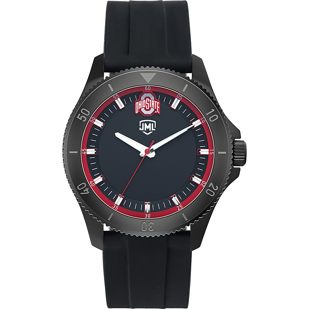 Jack Mason League Mens NCAA Blackout Silicone Watch Ohio State - Jack Mason League Watches - Fashion Accessories, Watches