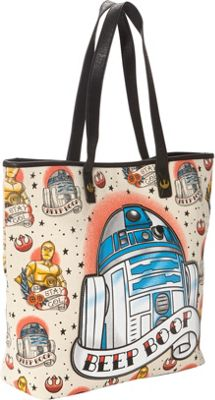 Loungefly Star Wars R2D2 Tattoo Applique Tote Tan/Multi - Loungefly Fabric Handbags