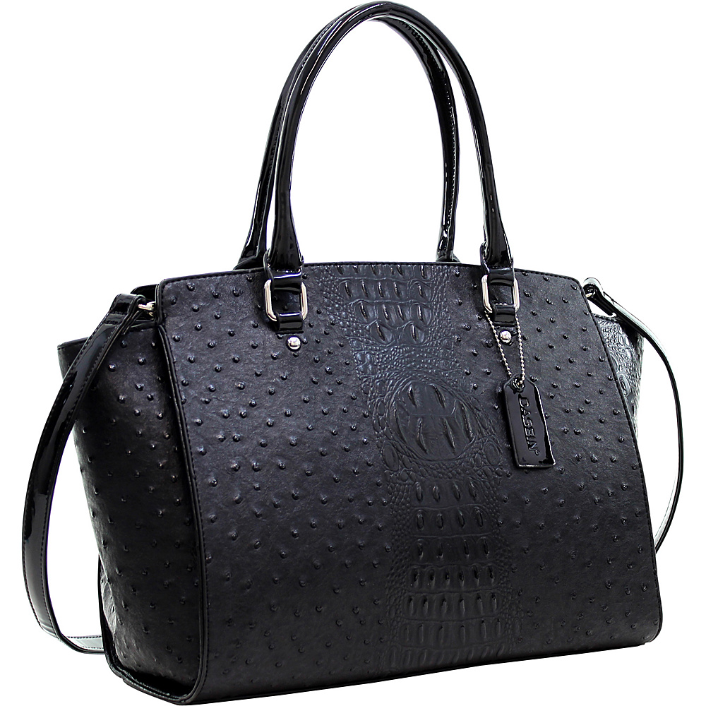 Dasein Faux Ostrich Leather Winged Satchel with Patent Trim Black - Dasein Manmade Handbags - Handbags, Manmade Handbags