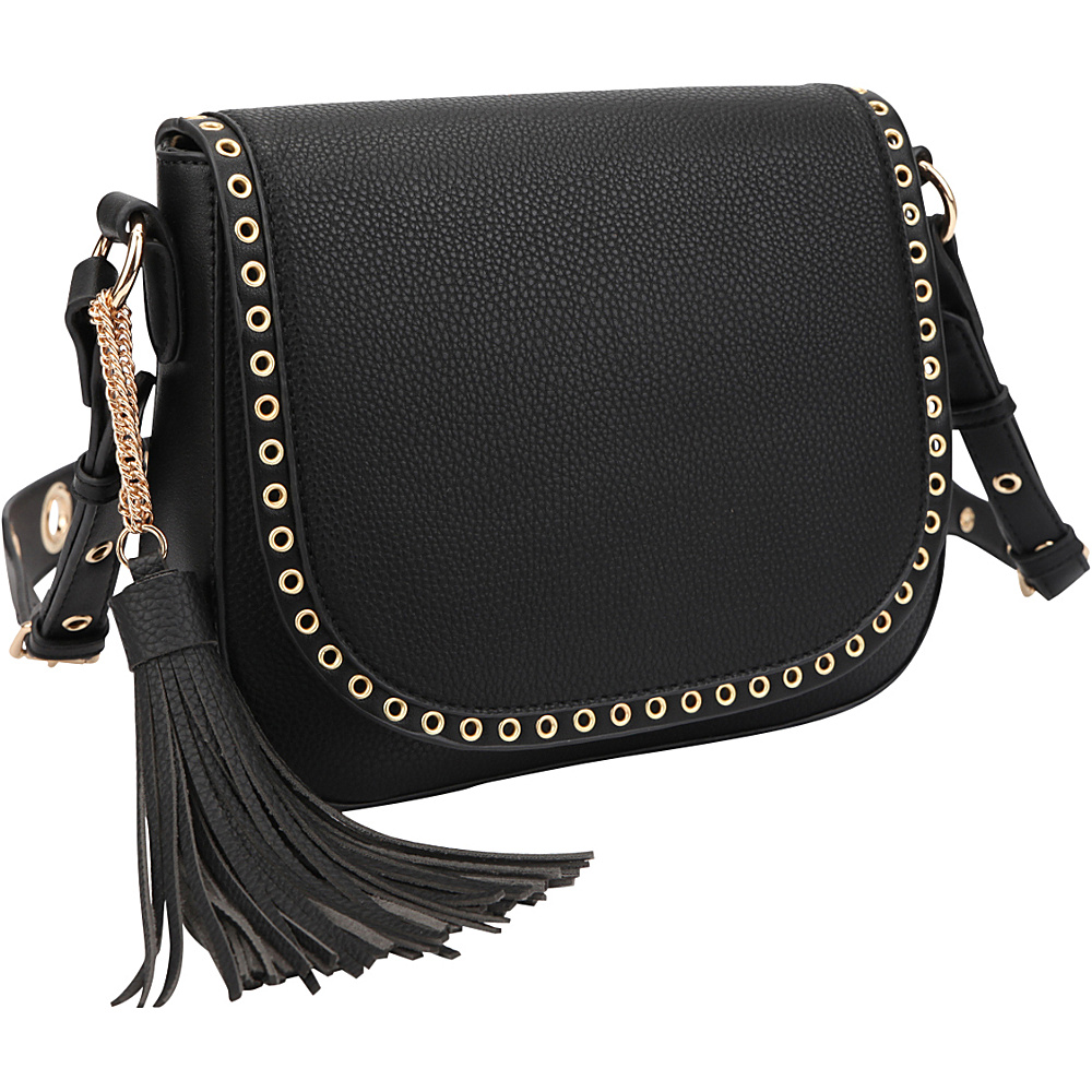 Dasein Front Flap Messenger Crossbody Black - Dasein Leather Handbags - Handbags, Leather Handbags