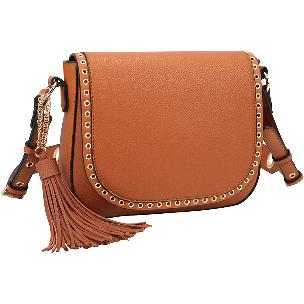 Dasein Front Flap Messenger Crossbody Brown - Dasein Leather Handbags - Handbags, Leather Handbags