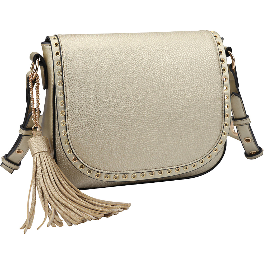 Dasein Front Flap Messenger Crossbody Gold - Dasein Leather Handbags - Handbags, Leather Handbags