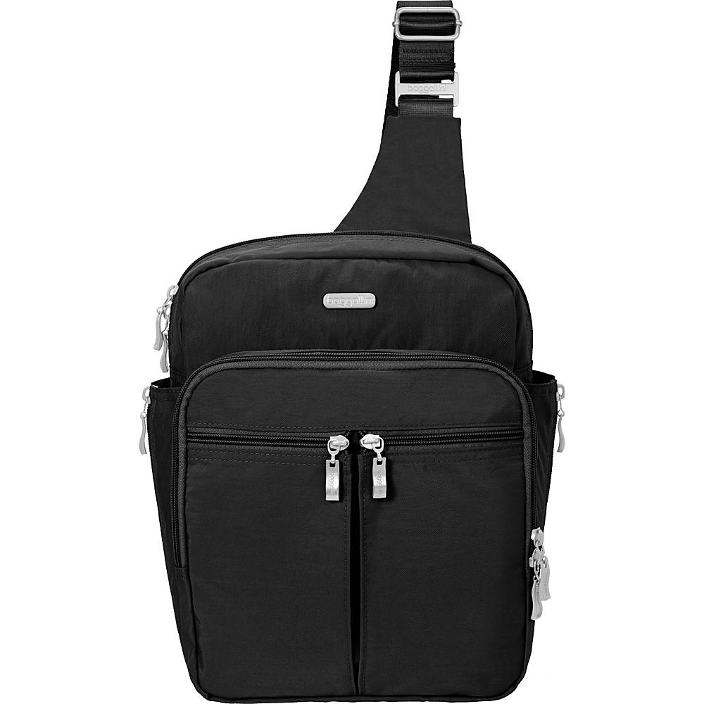 baggallini Messenger Bagg with RFID Black/Sand - baggallini Fabric Handbags - Handbags, Fabric Handbags
